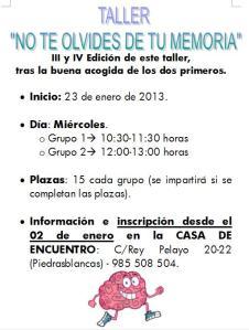 Memoria III y IV enero 2013