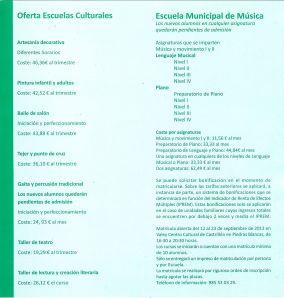 Escuelas culturales-escuela de música 2013-2014